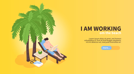 Isometric beach house tropic holidays horizontal banner with human character of freelancer character in hammock chair vector illustration Illustration