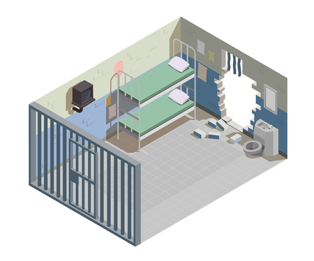 Empty prison cell for two inmates with broken wall and escaped jailed criminals isometric composition vector illustration Ilustração