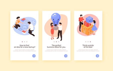 Set of three isometrix teamwork brainstorming vertical banners with conceptual images and pictograms text and button vector illustration