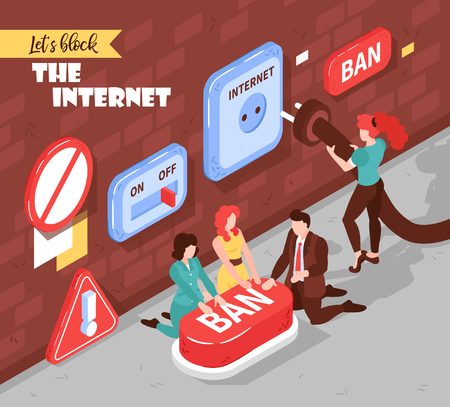 Isometric banned website background with editable text and composition of conceptual images pictograms and human characters vector illustration Illustration