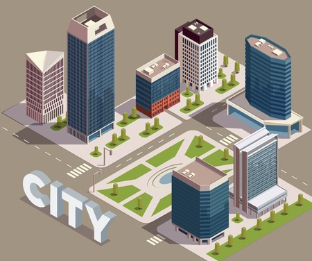 City skyscrapers isometric composition with view of city block with modern tall buildings streets and text vector illustration