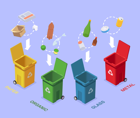 Garbage waste recycling isometric composition with conceptual images of colourful bins and different groups of rubbish vector illustration Illustration