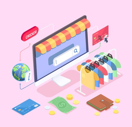 Shopping e-commerce isometric concept with composition of desktop computer clothes rail cash and credit cards vector illustration