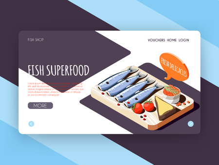 Fish superfood landing page for online shop advertising with fresh delicacies isometric icons vector illustration