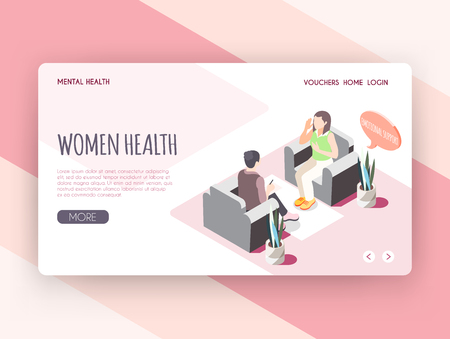 Women health isometric landing page with young woman receiving emotional support  at psychologist cabinet vector illustration Stock Illustratie