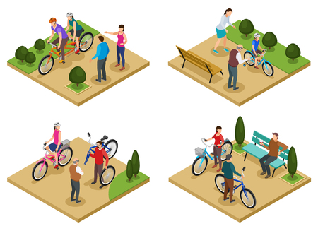 Summer vacation 2x2 design concept set of isometric compositions with people riding bicycles in city park vector illustration  Illustration