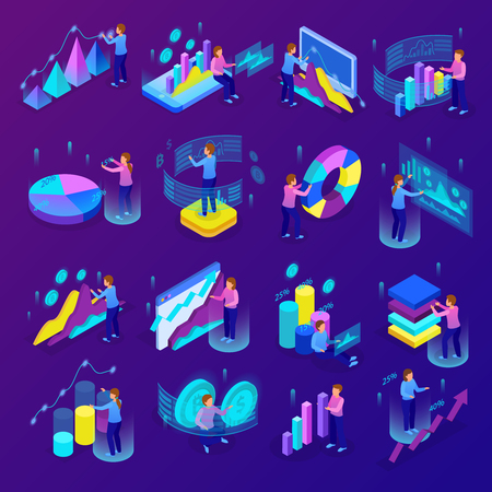 Isometric glowing business analytics icons set with people making various graphs and diagrams 3d isolated vector illustration