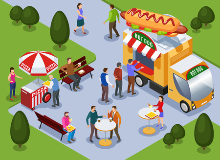 Fragment of city park landscape with hot dog truck pizza cart and people eating outdoors isometric vector illustration