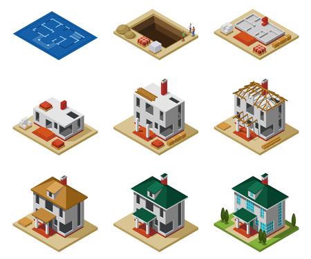 Hausbauphasen von der Zeichnung bis zum fertigen Gebäude isometrische Symbole setzen isolierte Vektorillustration Vektorgrafik