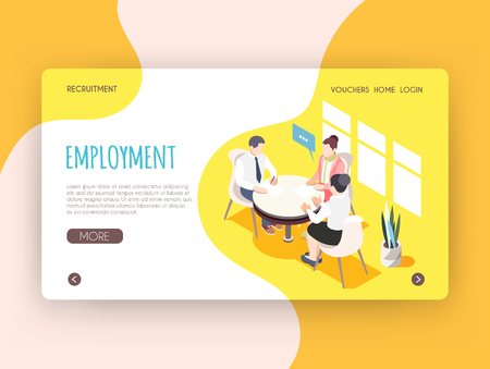 Employment isometric landing page with adult people sitting at round table and participating in job interview vector illustration Illustration
