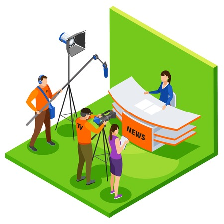 TV studio Live news in  isometric background with shooting crew editor and announcer talking about latest events vector illustration