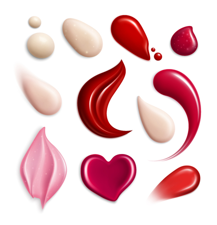 Cosmetic foundation lipgloss cream smears realistic icon set with swatch different shapes and tones vector illustration
