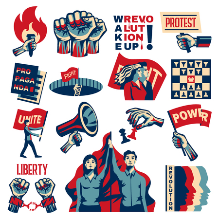 Revolution socialism promoting constructivist set with power liberty unity struggle for freedom symbols vintage isolated vector illustration Stock Vector - 120960079