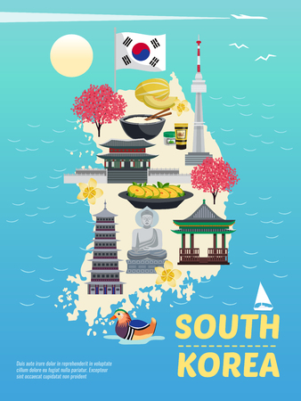 South korea tourism vertical poster composition with doodle images on island silhouette with sea and text vector illustration Illustration