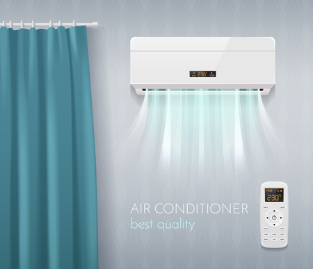 Climate control poster with air conditioning technology symbols realistic vector illustration
