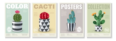 Blooming cacti varieties 4 realistic mini posters set with popular house plants in  decorative pots vector illustration