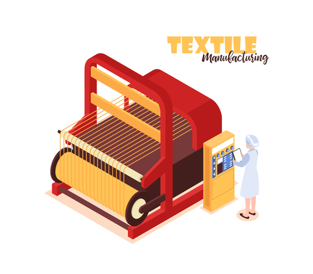 Isometric colorful concept with textile factory worker standing near big weaver loom 3d vector illustration