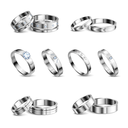 White gold platina noble metals wedding rings 6 realistic isolated sets jewelry shadow neutral background vector illustration