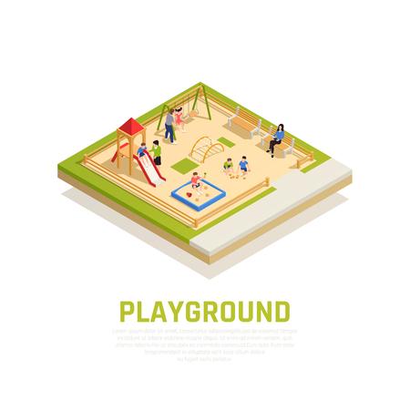 Familie, die isometrisches Konzept mit Spielplatz mit Kindersymbolvektorillustration spielt