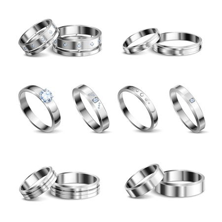 White gold platina noble metals wedding rings 6 realistic isolated sets jewelry shadow neutral background vector illustration     向量圖像