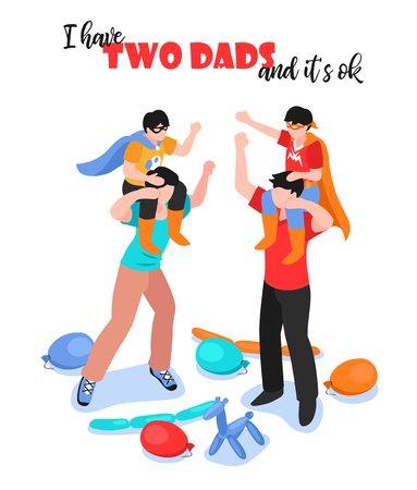 Lgbt family with two dads and boys having fun 3d isometric vector illustration