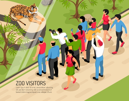 Zoo visitors adults and kids with photo cameras near area with tiger isometric vector illustration