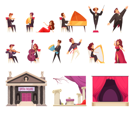 theater flat cartoon elements set with performing musicians singers conductor stage curtain decorations building vector illustration