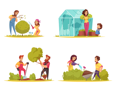 Gardening vegetables growing trimming of bushes planting trees watering of flowers cartoon design concept isolated vector illustration