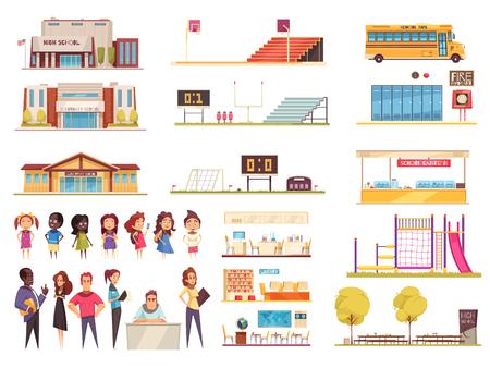 Éléments du territoire scolaire classes bibliothèque et cantine enseignants et élèves ensemble d'icônes de dessin animé illustration vectorielle isolée Vecteurs