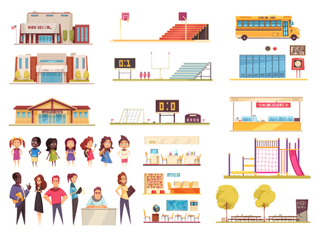 School territory elements classes library and canteen teachers and pupils set of cartoon icons isolated vector illustration Foto de archivo - 123522972