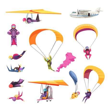 Fallschirmspringen Extremsport-Elemente flache Icons Sammlung mit Fallschirmspringen freier Fall Flugzeug Segelflugzeug isolierte Vektor-Illustration