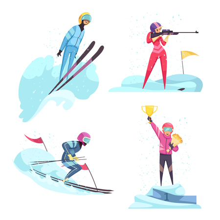 Winter sports concept icons set with skiing and biathlon symbols flat isolated vector illustration Illustration