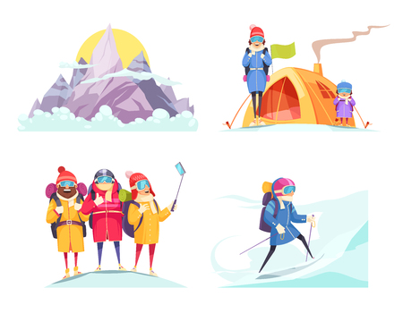 Mountaineering cartoon 4 designs concept square with alpine mountain climbers tent selfie on top isolated vector illustration