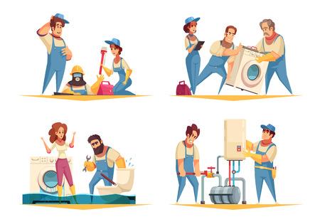 Concept de travail de plombier 4 compositions de dessin animé plat avec illustration vectorielle d'installation de machine à laver de chaudière de fixation à la maison inondée