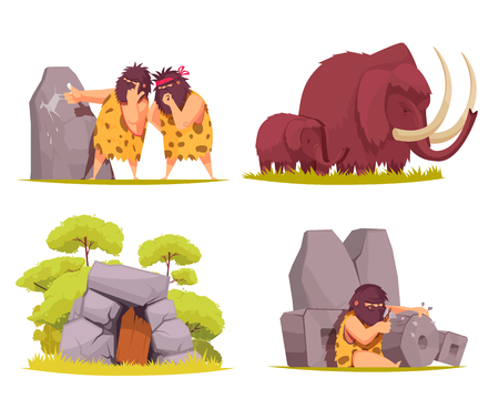 Caveman 2x2 design concept set of primitive men dressed in animal pelt busy with everyday worries cartoon vector illustration Çizim