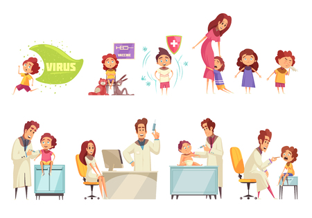Kids vaccination decorative icons set with doctors and parents who bring their kids to receiving vaccine flat vector illustration