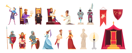 Le château médiéval attribue aux habitants des icônes plates serties de tricots roi seigneur dame drapeau héraldique isolé illustration vectorielle Vecteurs