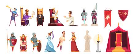 Los iconos planos de los habitantes de los atributos del castillo medieval fijaron con la bandera heráldica aislada de la bandera heráldica de la señora del rey de los tejidos el ejemplo Ilustración de vector