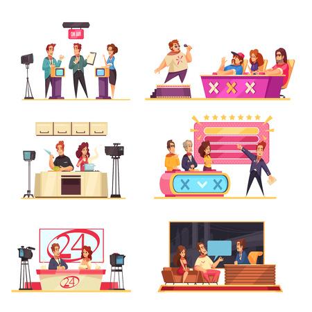 Telewizyjny teleturniej 6 kompozycji kreskówek z uczestnikami prowadzącymi rozwiązywanie łamigłówek, odpowiadającymi na pytania ilustracja wektorowa jury piosenkarza singer