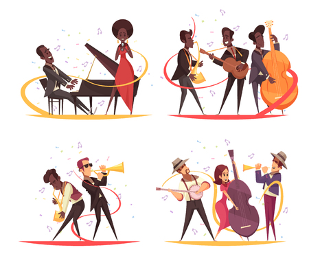 Jazz design concept with cartoon characters of musicians on stage with instruments and note silhouettes vector illustration Stock Illustratie