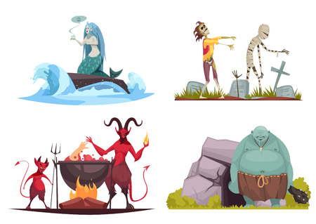 Evil character concept 4 cartoon compositions with wicked sea witch tricking mermaid haunted cemetery isolated vector illustration