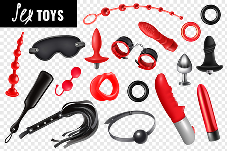 Sex toys transparent set for bdsm with leather whip mask bracelet vibrator realistic icons isolated vector illustration