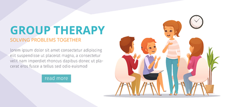 Group therapy cartoon banner with solving problems together descriptions and read more button vector illustration