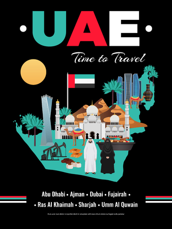 United arab emirates uae travel guide brochure leaflet cover colorful black background poster with map vector illustration