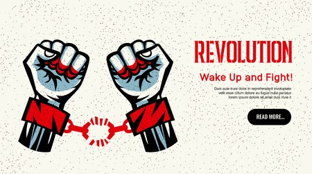 Revolution propagating website homepage constructivist vintage style design with broken handcuff fight for freedom concept vector illustration