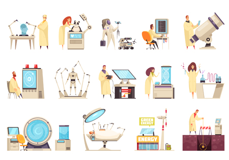 Science icons set with modern equipment and scientists working in different fields of  innovative development isolated vector illustration