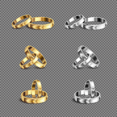Matching gold platina his her wedding bands rings series 6 realistic sets transparent background isolated vector illustration