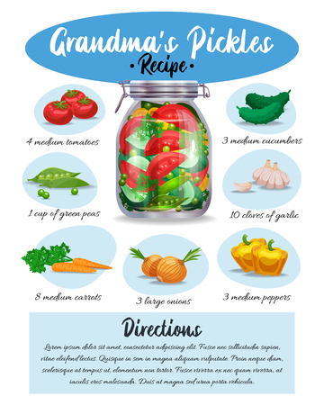 Grandma pickles marinade colorful pictorial recipe with ingredients written instructions culinary appetizing infographic leaflet page vector illustration Illustration