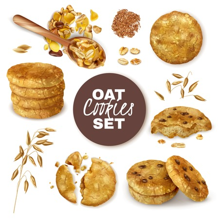 Whole and broken oatmeal cookies decorated with ears of oats realistic set isolated vector illustration Ilustração