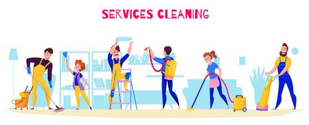 Les tâches professionnelles du service de nettoyage offrent une composition horizontale plate avec le lavage des sols, le polissage, l'aspirateur, les étagères époussetant l'illustration vectorielle